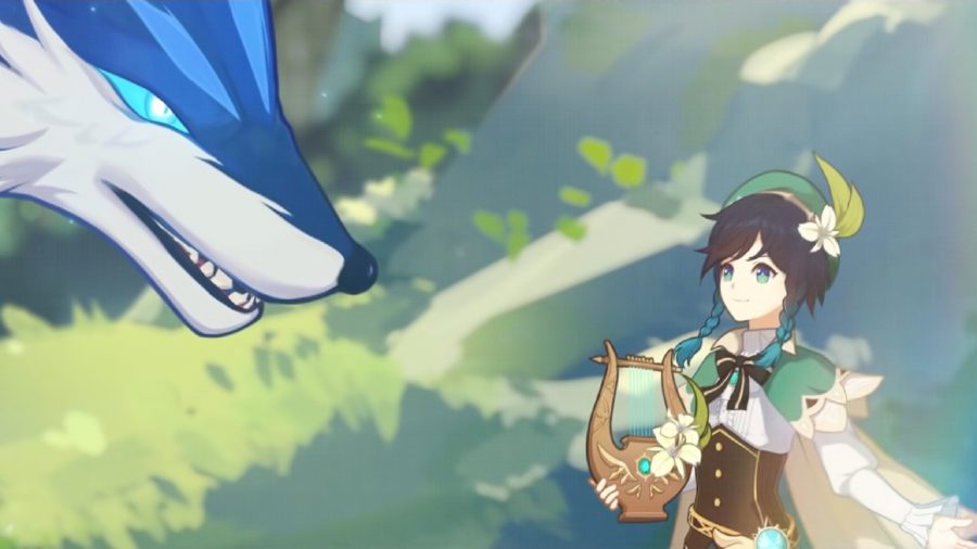 A boy with a harp reaching out to a giant blue wolf
