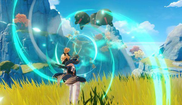 Genshin Impact battle in a field