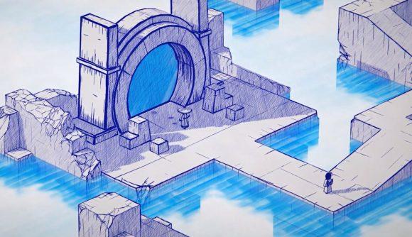 Inked samurai exiting blue portal