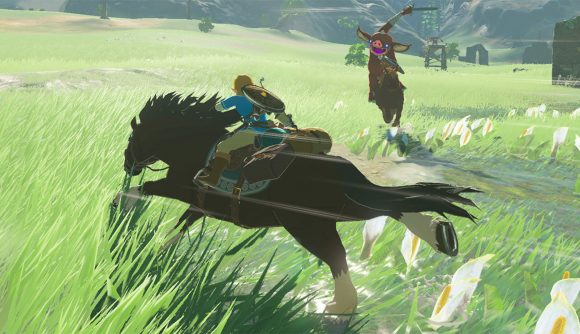 Link riding a horse in The Legend of Zelda: Breath of the Wild