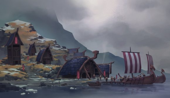A Viking long ship and inhabited island