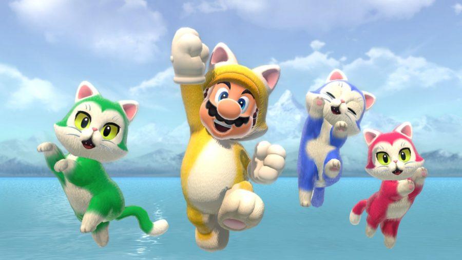 Cat Mario jumping alongside actual cats