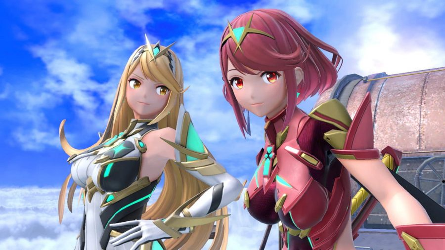 Mythra and Pyra looking into the camera