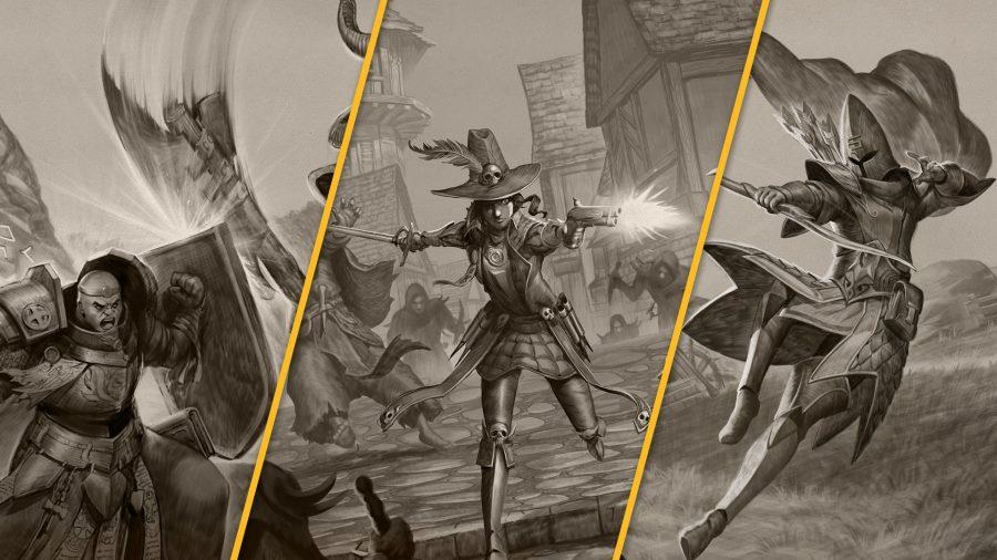 The Warrior Priest, Witch Hunter, and Shadow Warrior in Warhammer: Odyssey