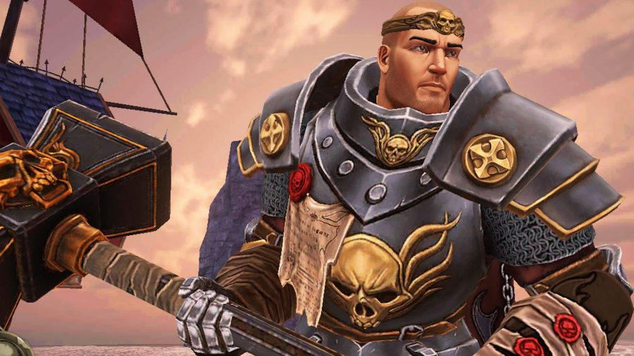 A Warrior Priest poses with a hammer in Warhammer: Odyssey