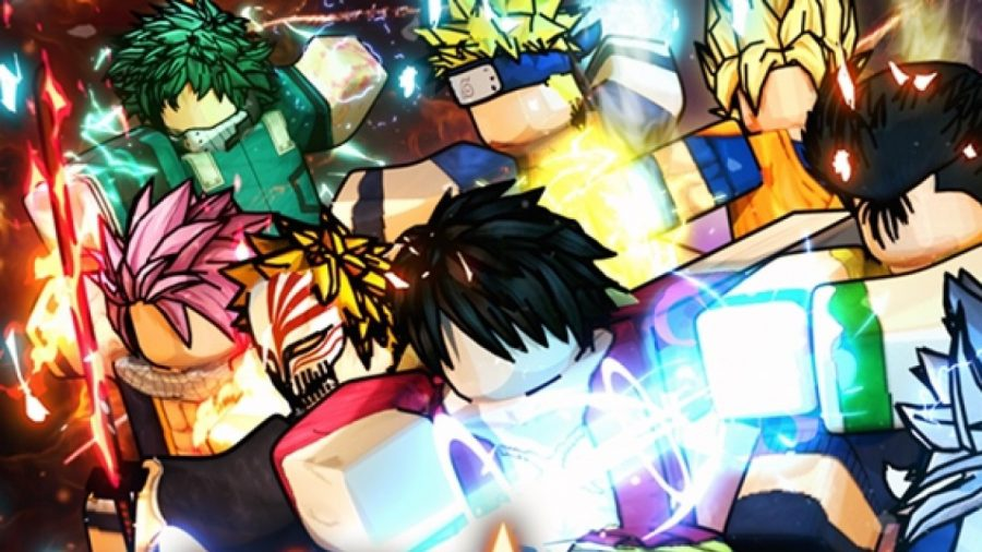 A host of anime characters charge forward wielding powers