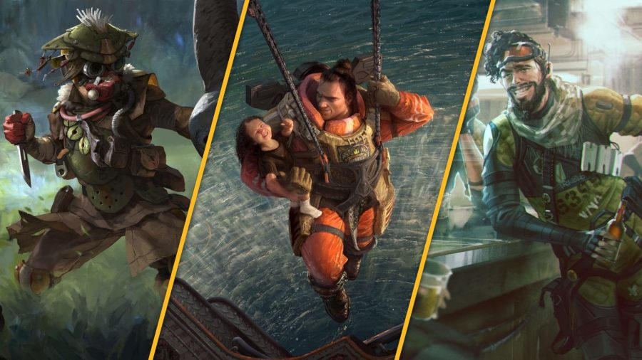Apex Legends characters Bloodhound, Gibraltar, and Mirage