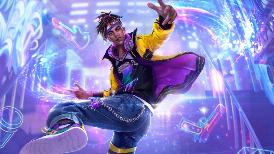 A character in a yellow coat is spinning around with their foot in the air, against a neon backdrop.