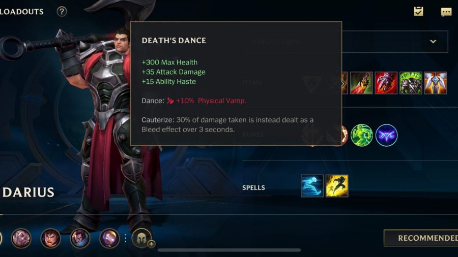 The Death's Dance item detailed in League of Legends: Wild Rift