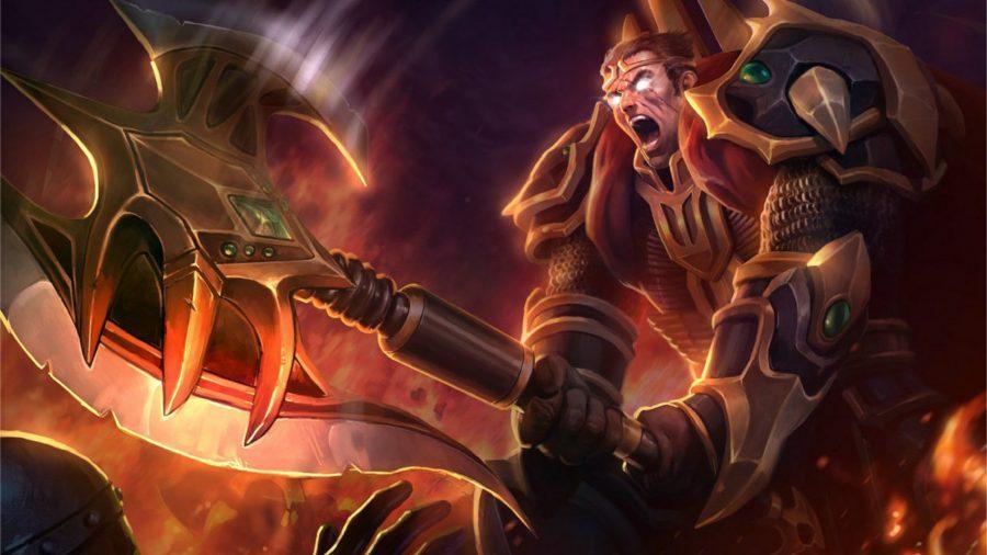 Darius striking with his weapon