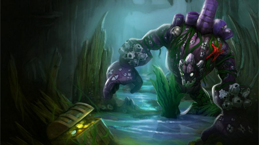 Malphite stood in water with a treasure chest