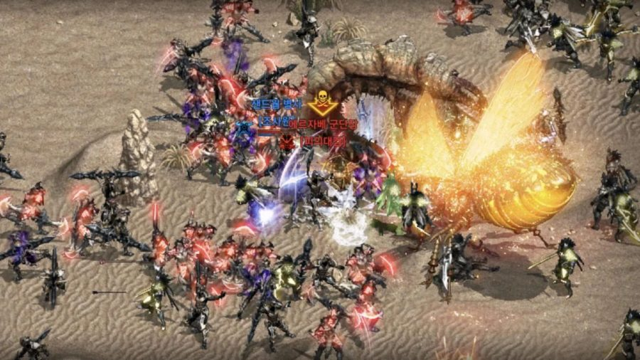A bunch of players fighting an enemy boss in Lineage M