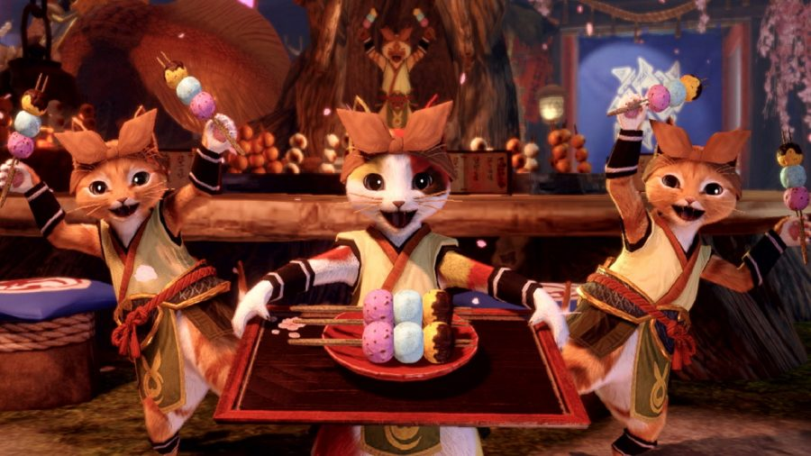 Three palico offering some food to you