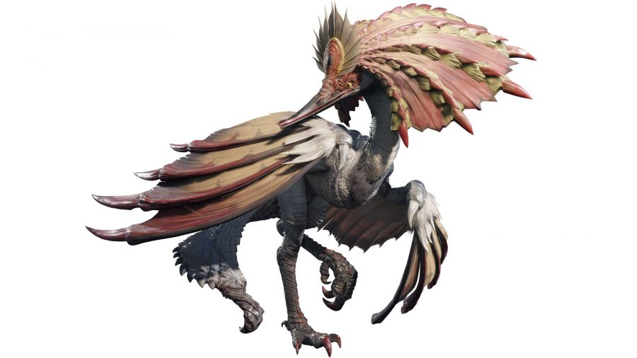 A bird wyvern that stands on one leg