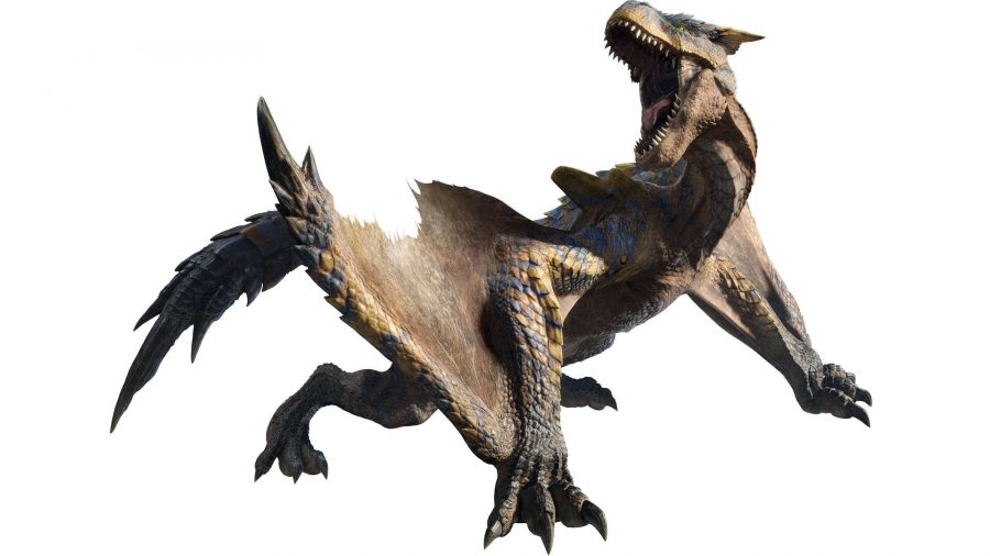 A monster with the head of a T-Rex and wings