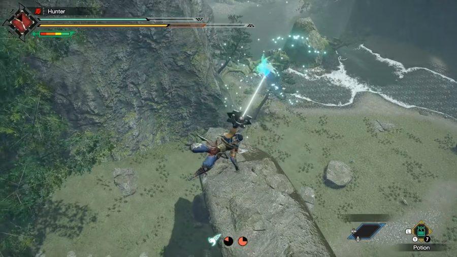 A man swinging on a Monster Hunter Rise wirebug