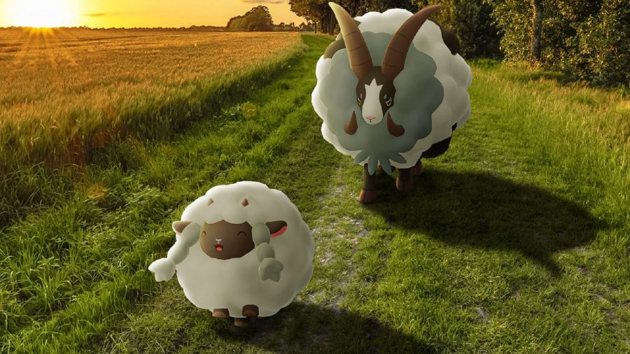 Wooloo and Dubwool walking through a field