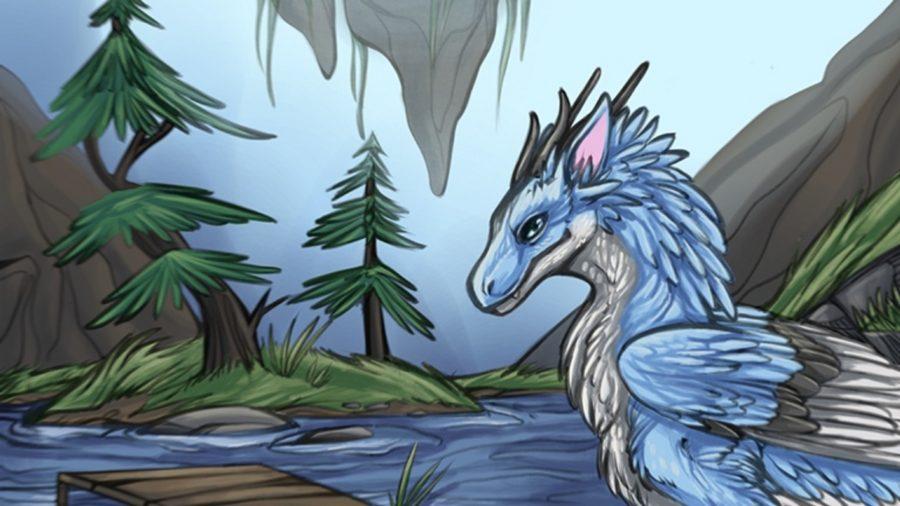 A blue dragon in a snowy area