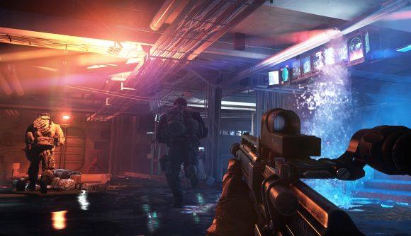A gunfight breaking out in Battlefield 4