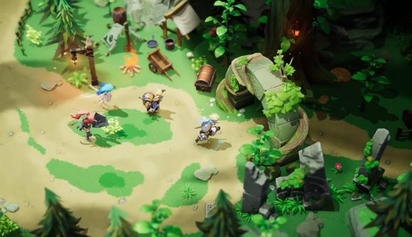 A party exploring a colourful forest