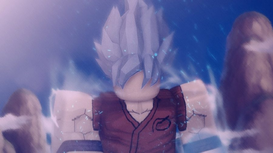 A Roblox character with spikey grey hair