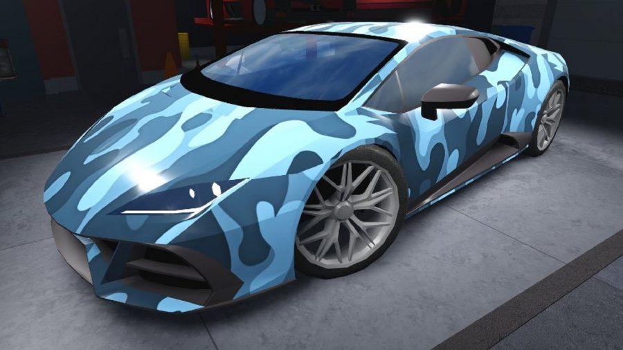 A blue camouflage car