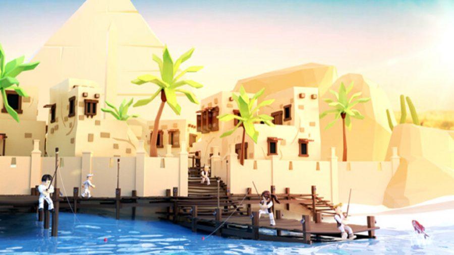 People fishing in an Egyptian setting