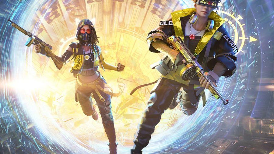 Two characters from Garena Free Fire running with guns