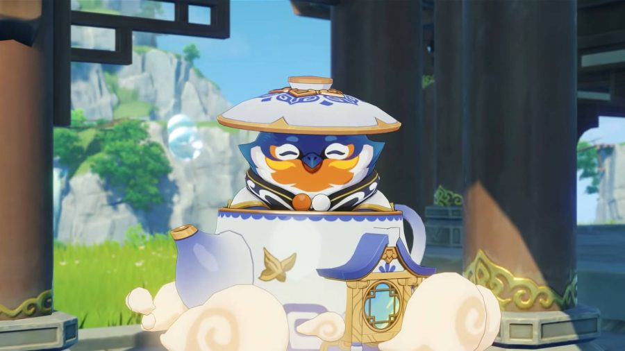 Tubby popping out of the Serenitea Pot