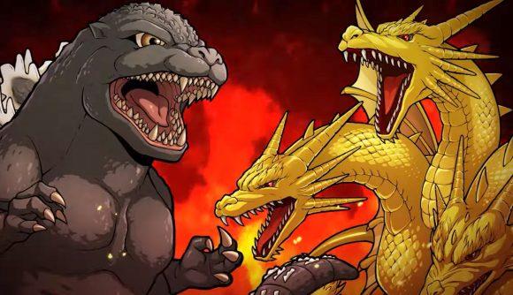 Godzilla facing off against King Ghidorah