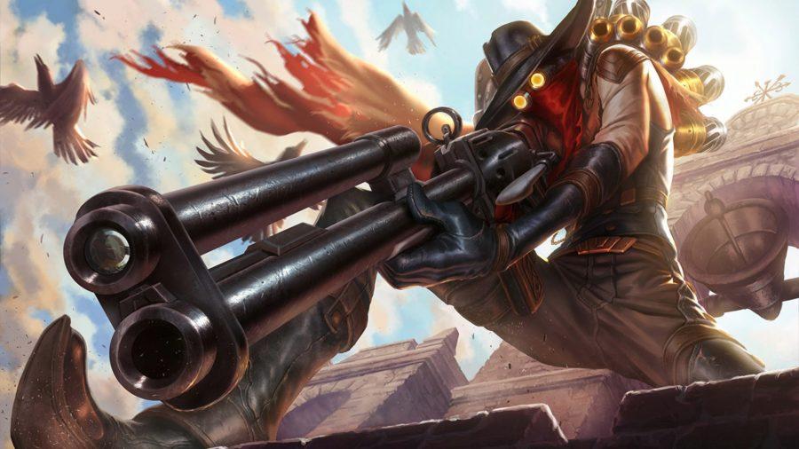 Jhin aiming a rifle