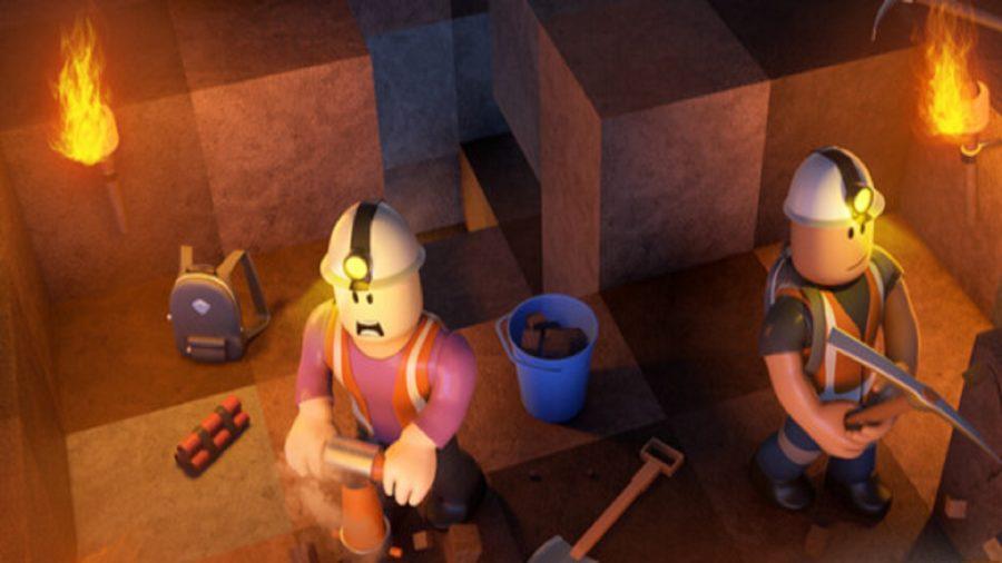 Two men mining