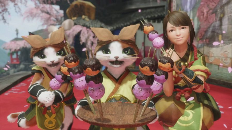 Two Palicos and a girl are serving Dangos in Monster Hunter Rise. Dangos are like mochi balls.