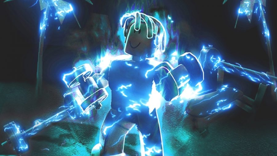 A man surrounded by blue light