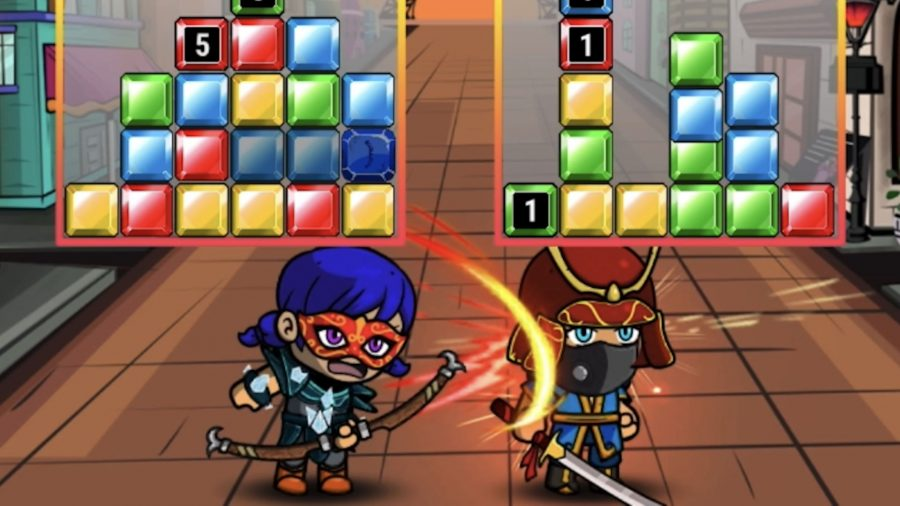 A character whacking another with a bow in Puzzelnite
