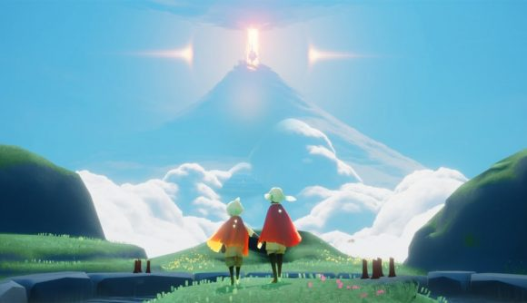 Two players looking out over the game's world