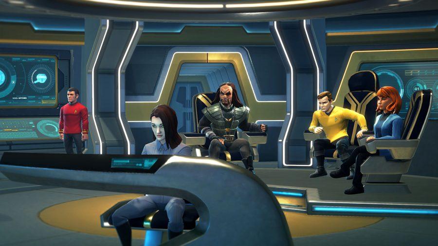 Various characters from Star Trek history in a ship's bridge bridge