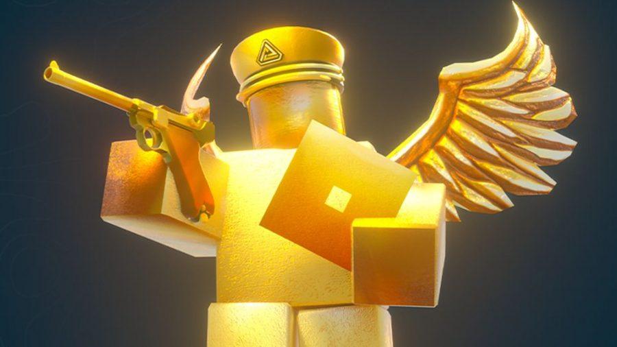 A golden Roblox statue