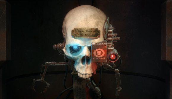 A cyborg skull