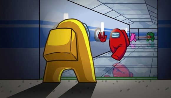 A red character running toward a yellow character