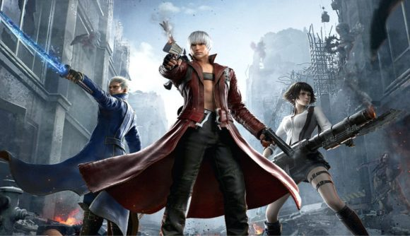 Dante, Lady and Vergil have their weapons drawn in the street