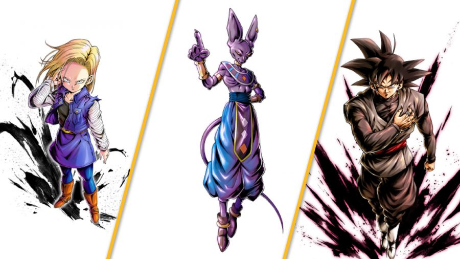 Android 18, Beerus, and Goku Black against a white background