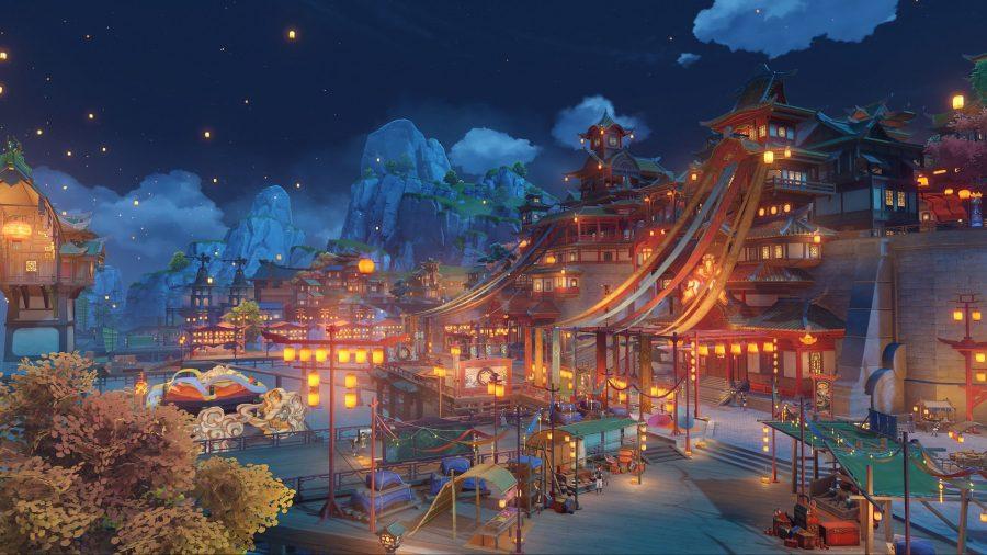 Genshin Impact download: a large city lit up at night