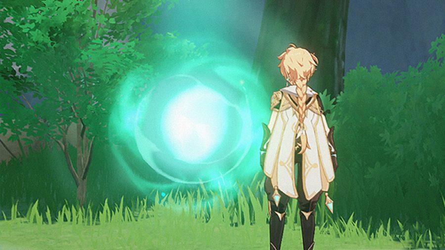 A man looking at a portal