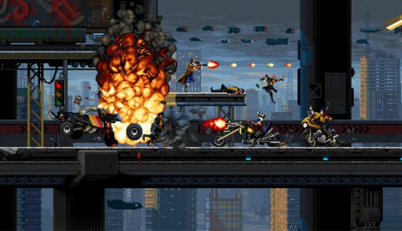 explosions and flying bullets as character goes through the level