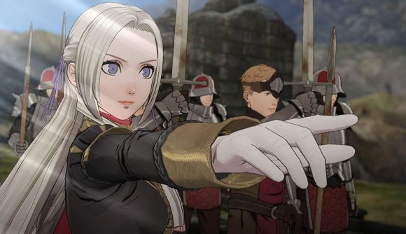 A character in Fire Emblem: Three Houses pointing
