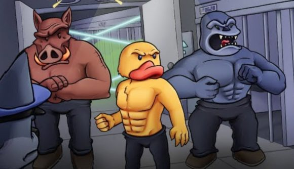 An anthropomorphic duck, gorilla, and boar breaking out of a jail