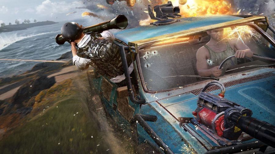A man in a car shooting a bazooka