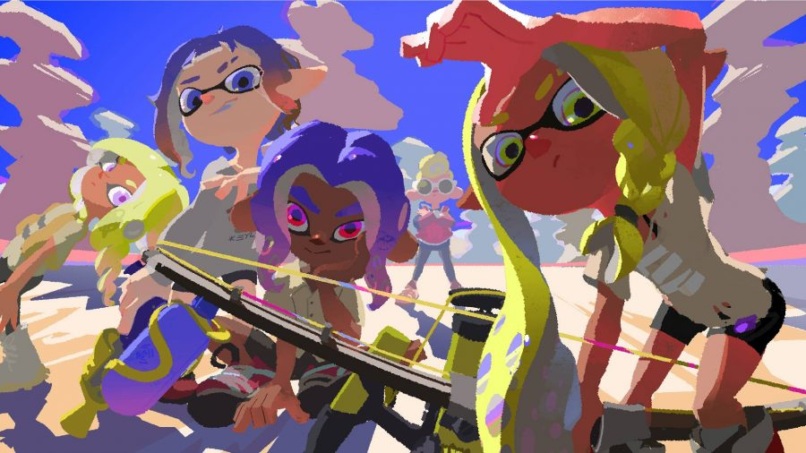 Several characters from Splatoon are staring forwards, holding a variety of weapons