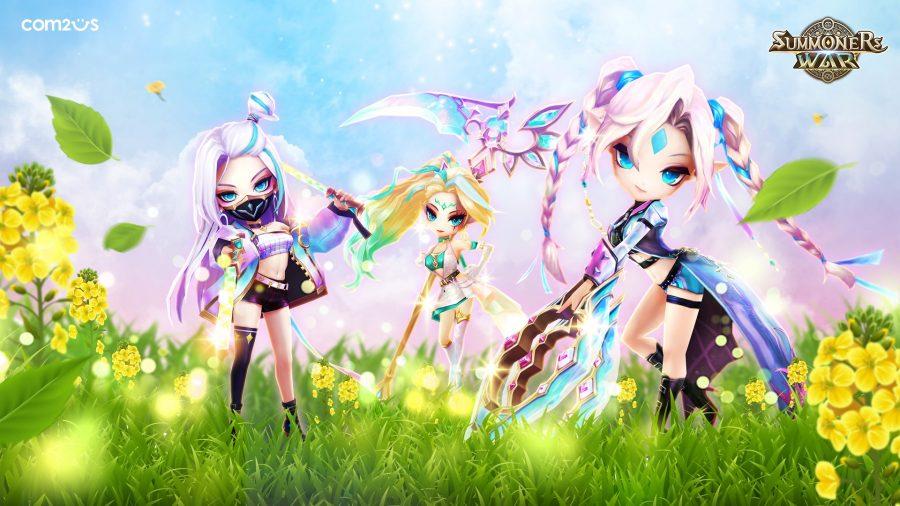 Tres niñas de pie en un campo brillante
